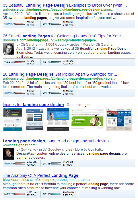landing page design serp